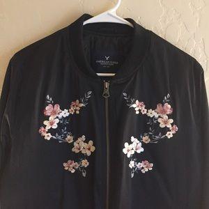American Eagle Embroidered Floral Bomber Jacket